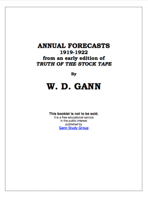 annual forecasts wd gann