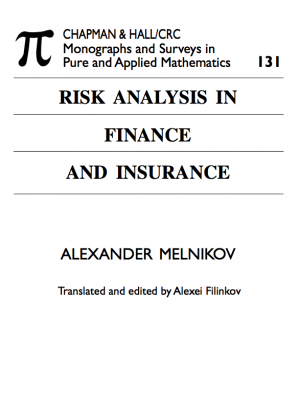 risk analysis in finance and insurance 1st edition